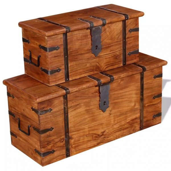 2 Piece Storage Chest Set Solid Wood 4