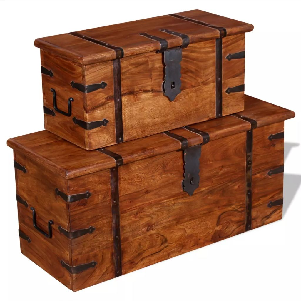 2 Piece Storage Chest Set Solid Wood 5