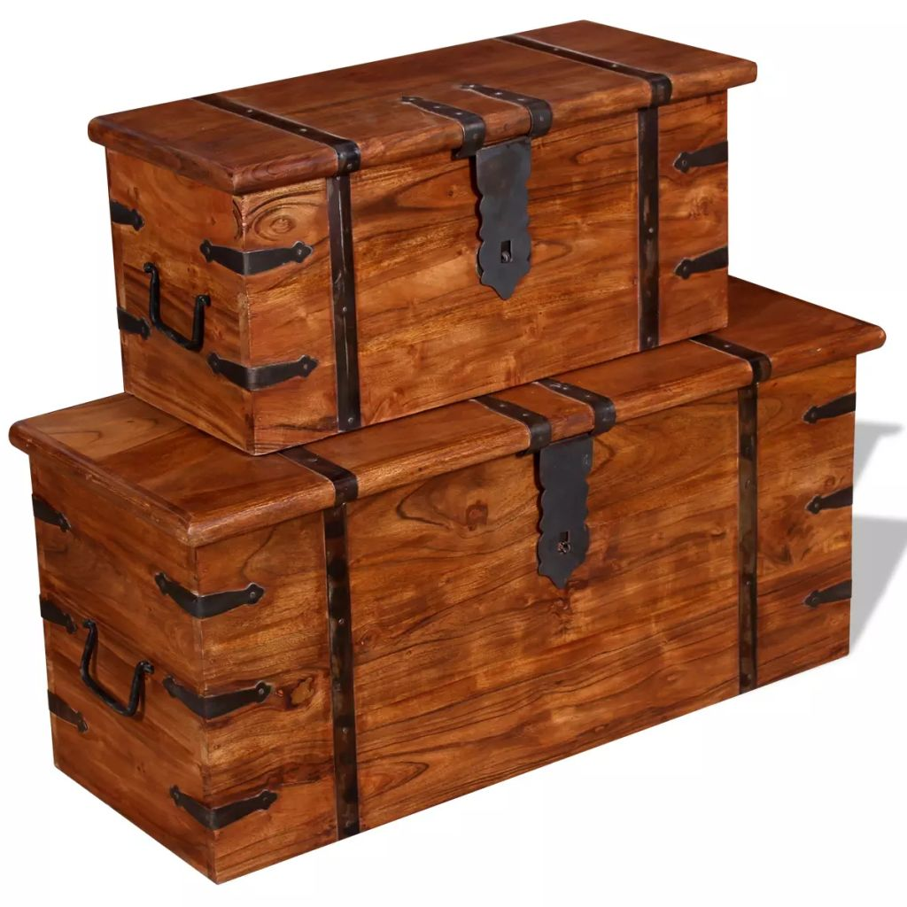 2 Piece Storage Chest Set Solid Wood 6
