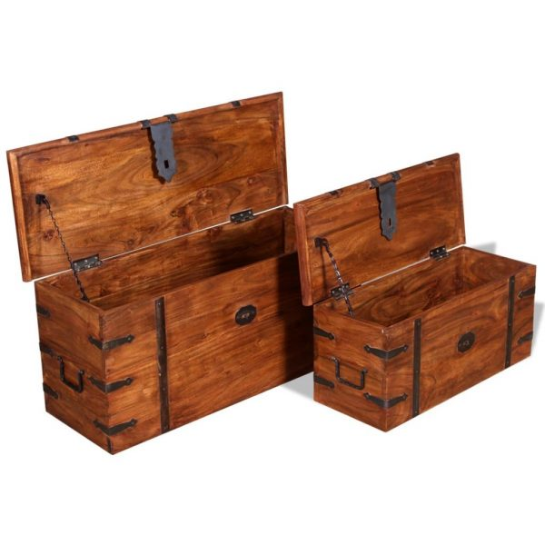 2 Piece Storage Chest Set Solid Wood 7