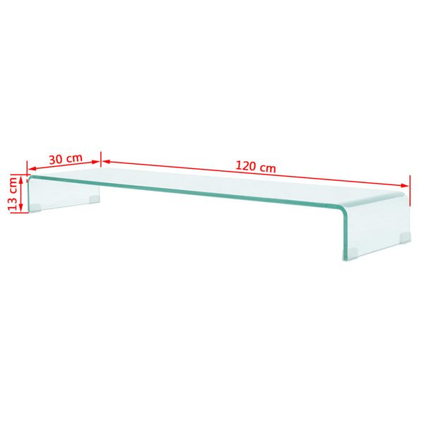 TV Stand/Monitor Riser Glass Clear 120x30x13 cm 6
