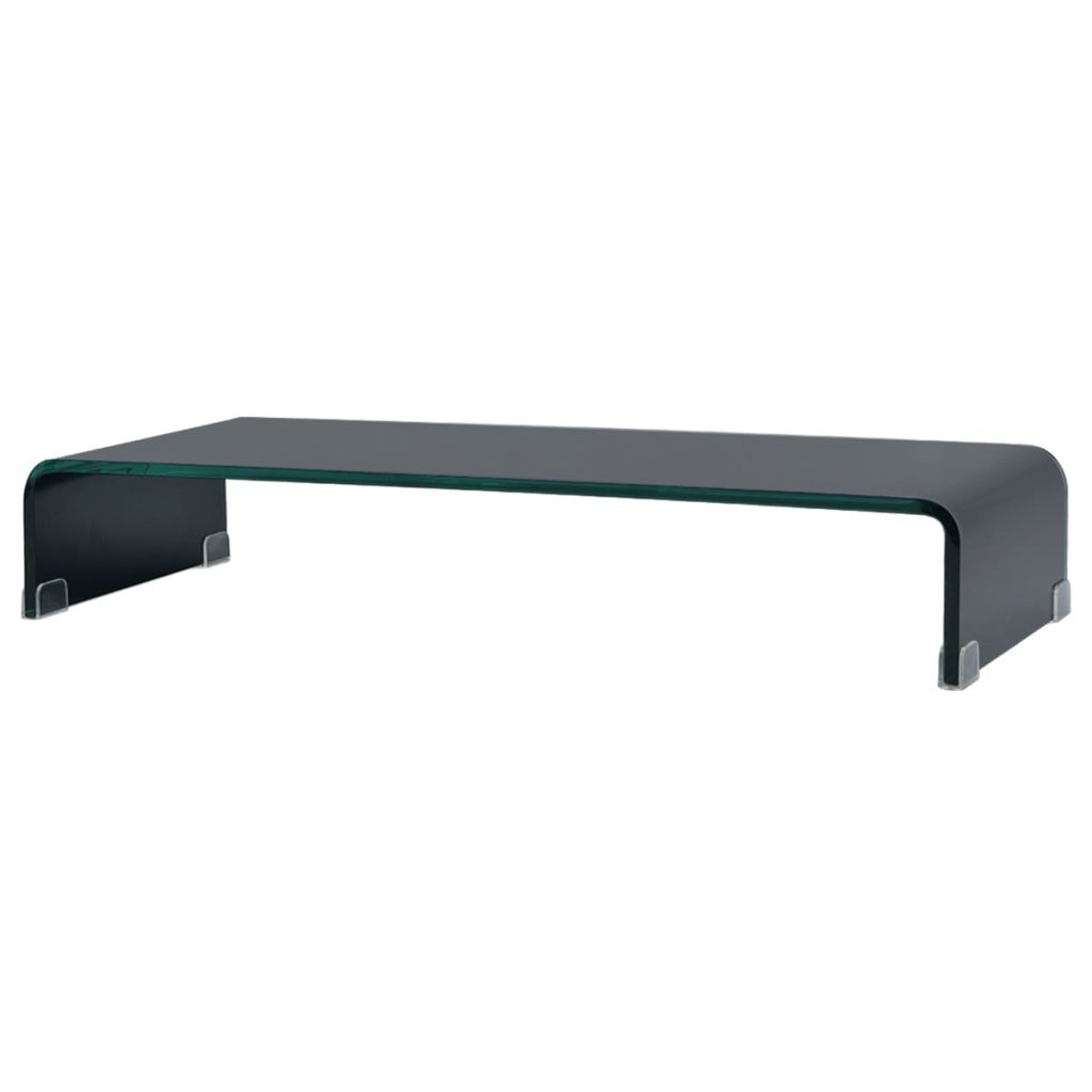 TV Stand/Monitor Riser Glass Black 70x30x13 cm 1