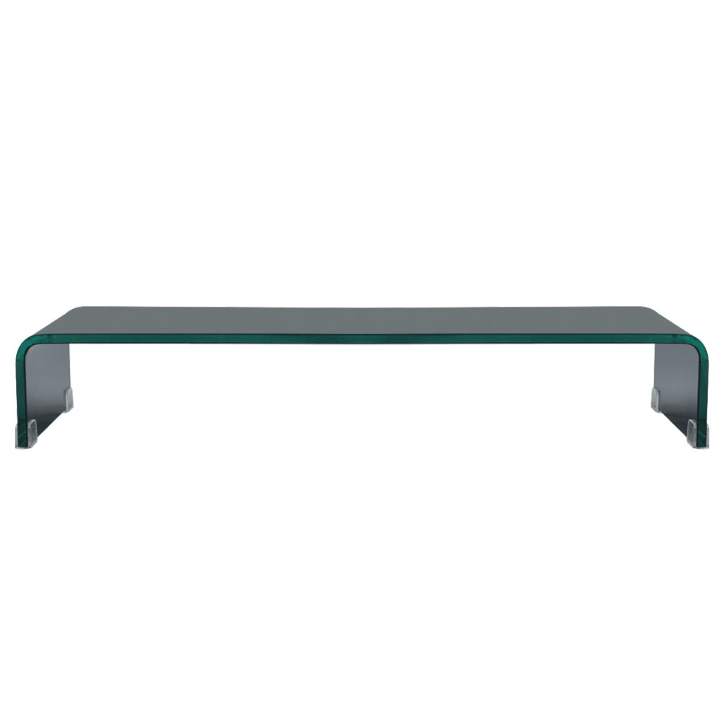 TV Stand/Monitor Riser Glass Black 70x30x13 cm 2