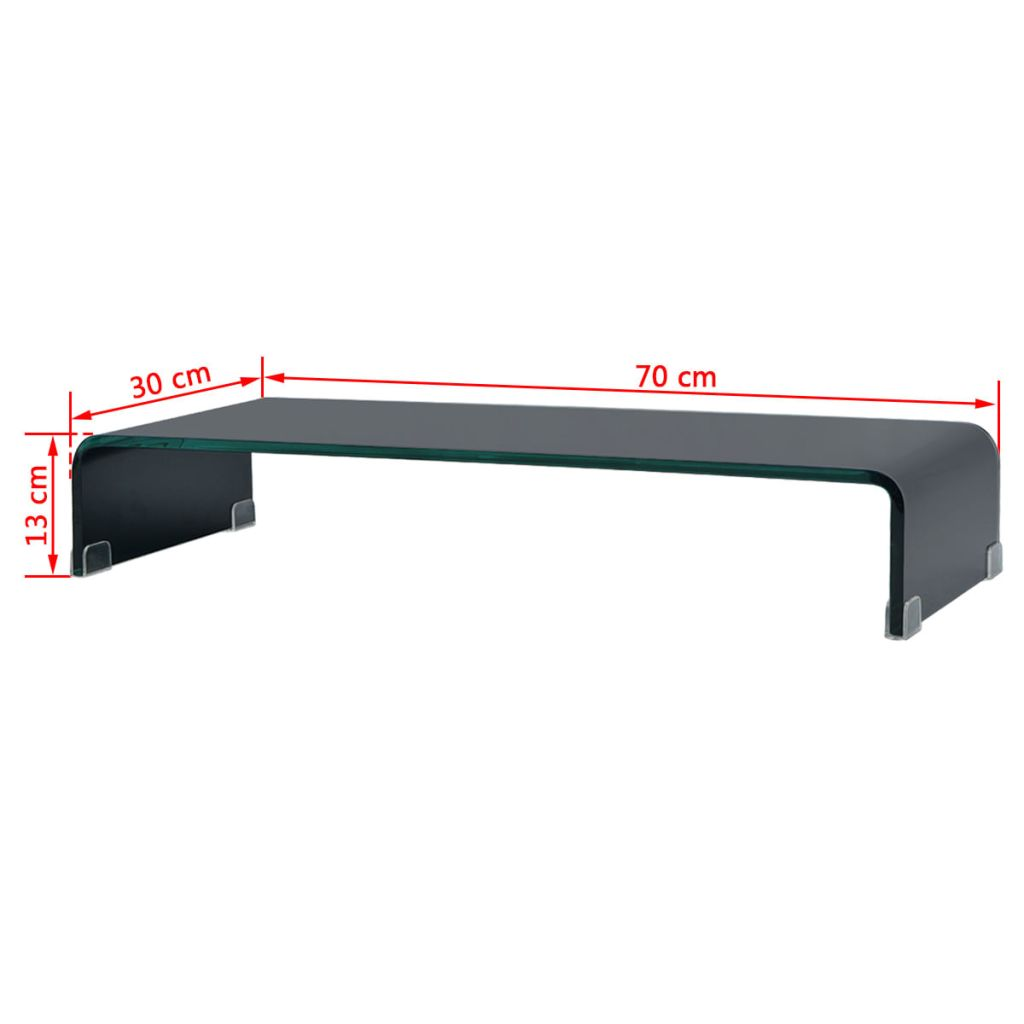 TV Stand/Monitor Riser Glass Black 70x30x13 cm 6