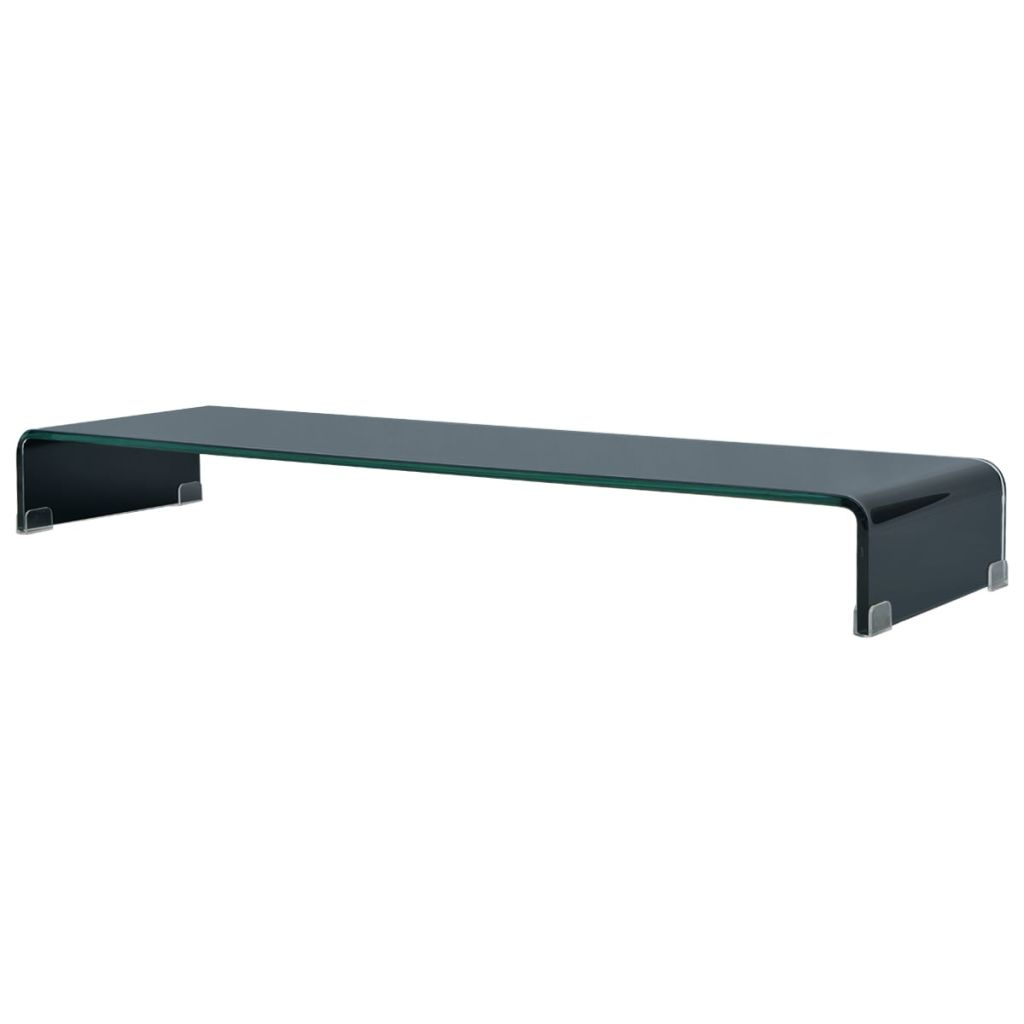 TV Stand/Monitor Riser Glass Black 110x30x13 cm 1