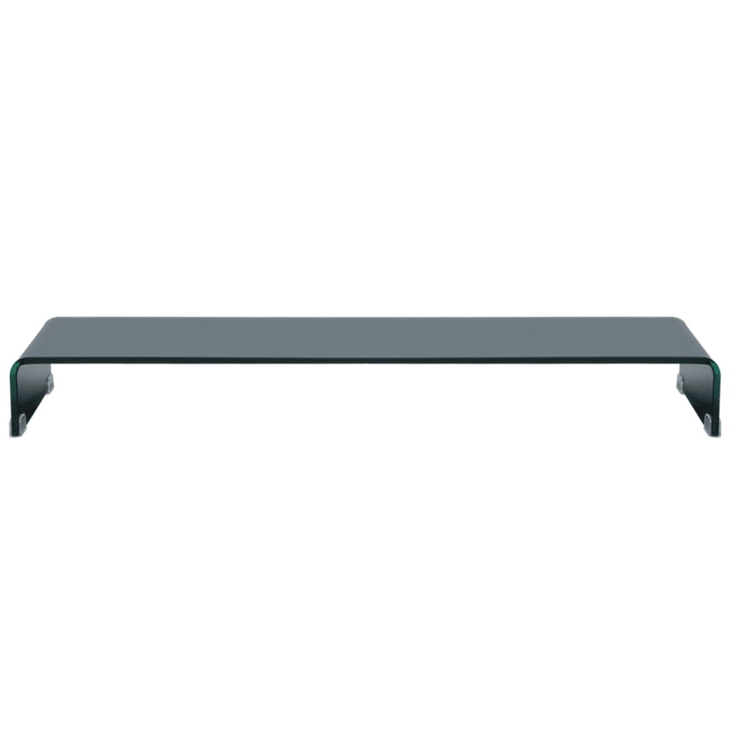 TV Stand/Monitor Riser Glass Black 110x30x13 cm 2