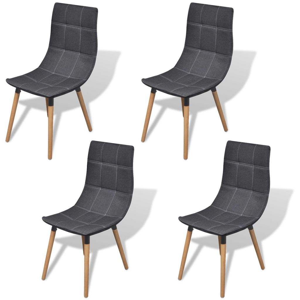 Dining Chairs 4 pcs Dark Grey Fabric 1