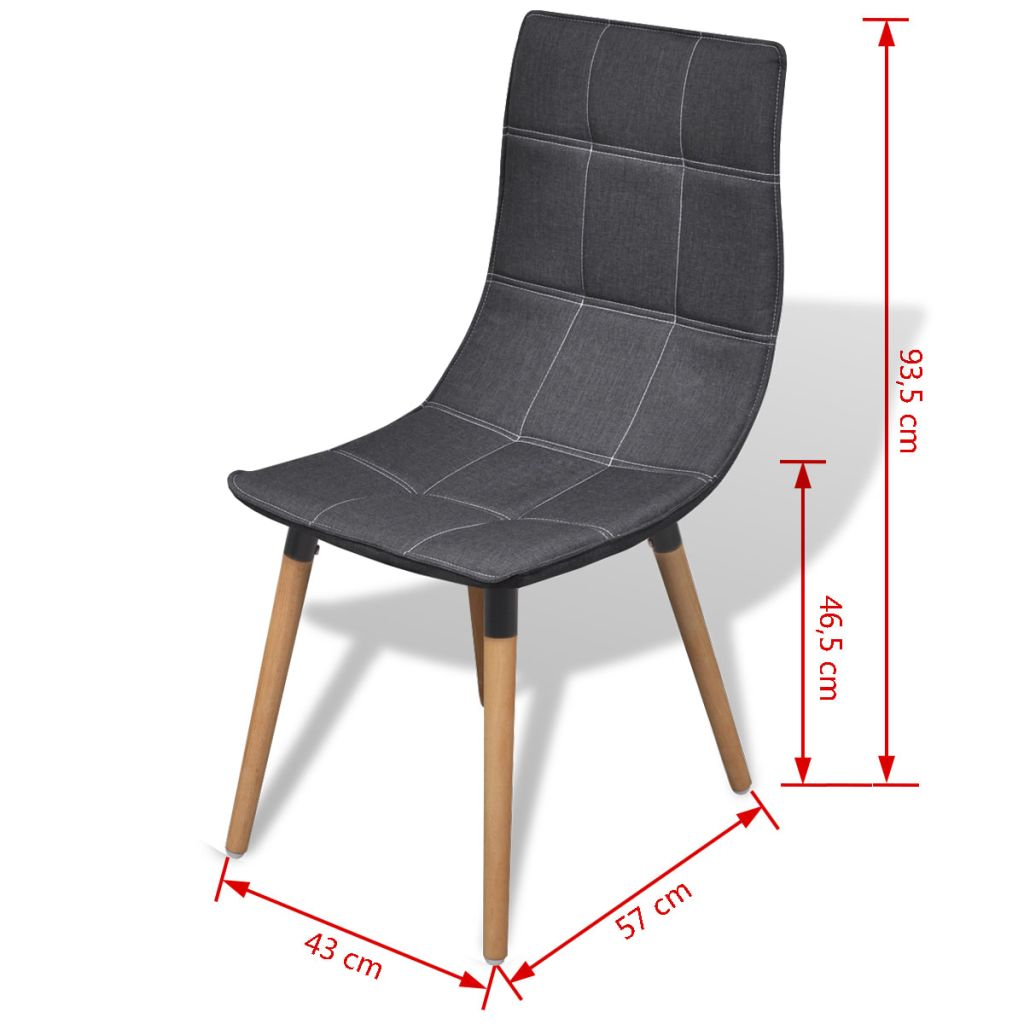 Dining Chairs 4 pcs Dark Grey Fabric 7