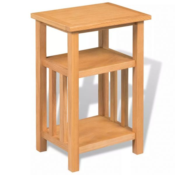 End Table with Magazine Shelf 27x35x55 cm Solid Oak Wood 2