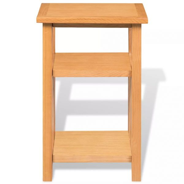 End Table with Magazine Shelf 27x35x55 cm Solid Oak Wood 3