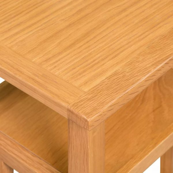 End Table with Magazine Shelf 27x35x55 cm Solid Oak Wood 5