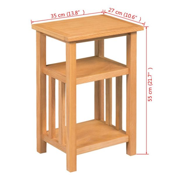 End Table with Magazine Shelf 27x35x55 cm Solid Oak Wood 6