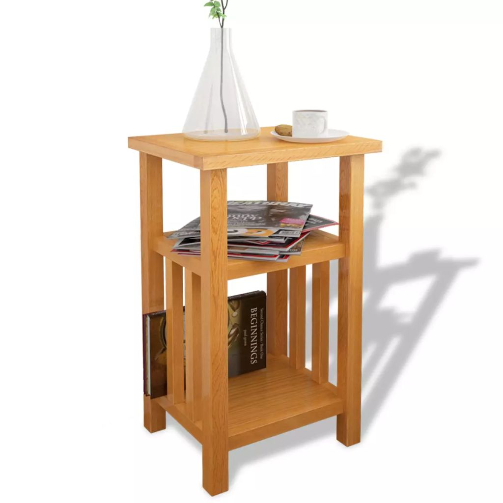 End Table with Magazine Shelf 27x35x55 cm Solid Oak Wood 1