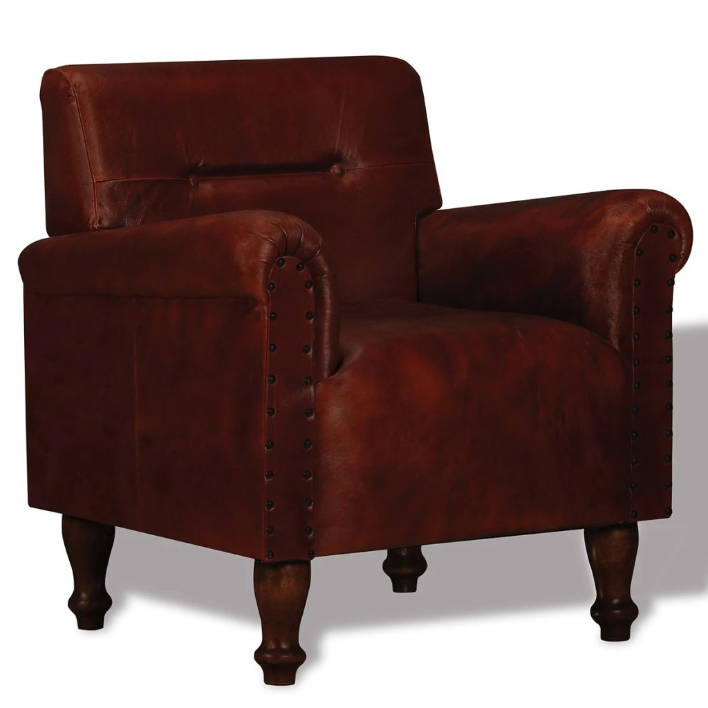 Armchair Brown Real Leather
