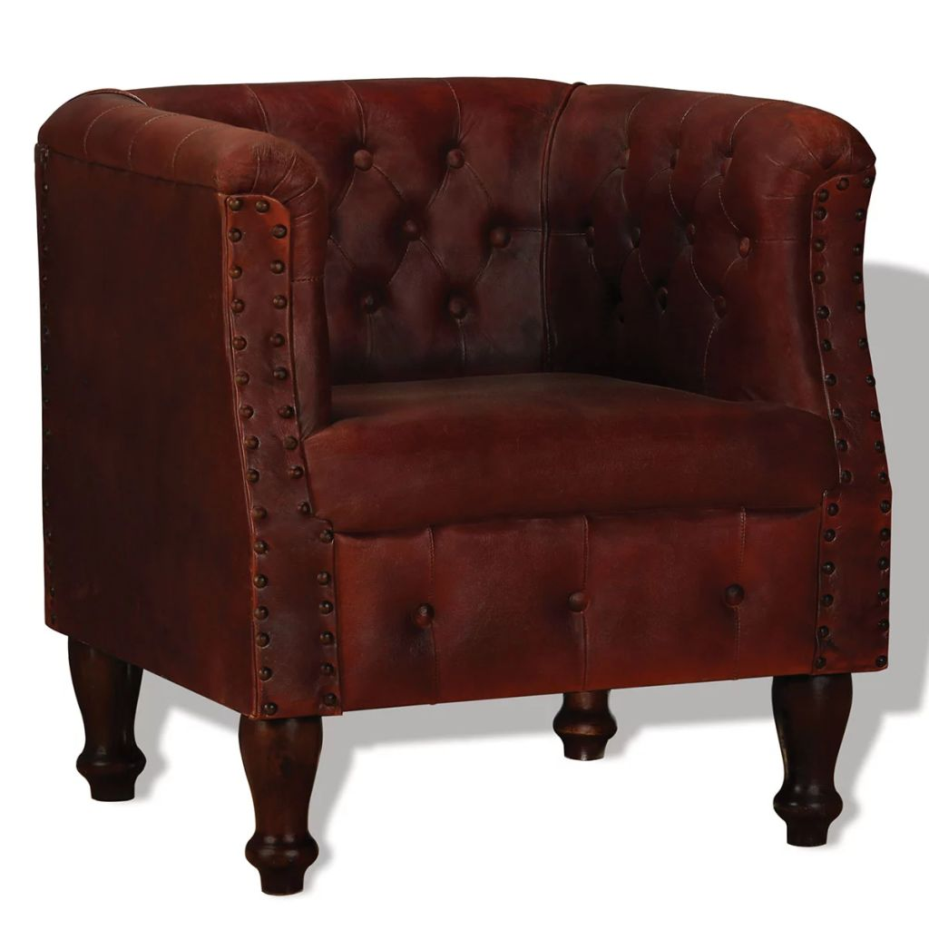 Armchair Brown Real Leather 1