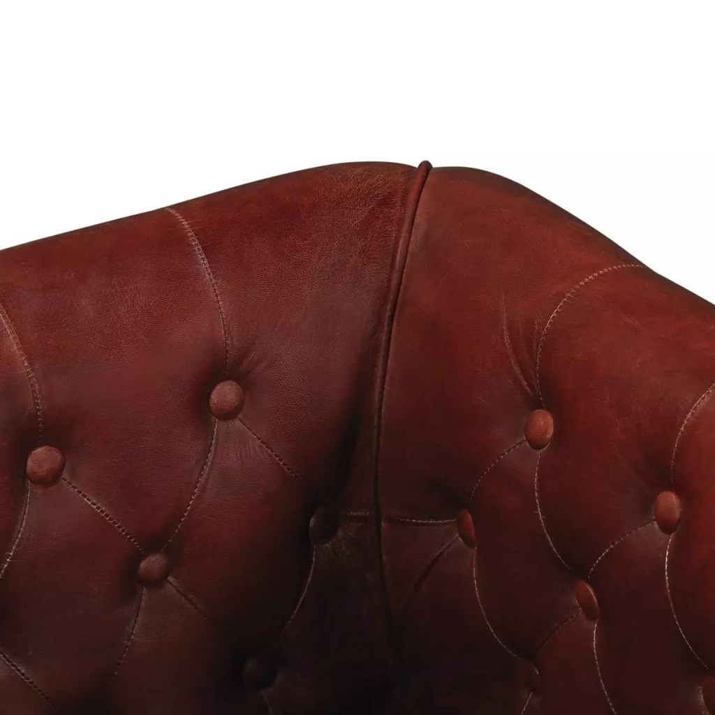 Armchair Brown Real Leather 3