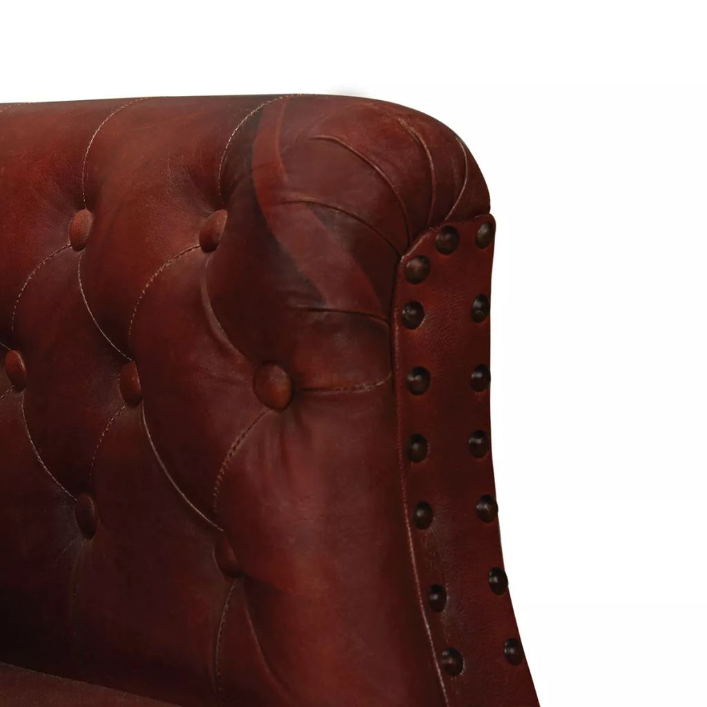 Armchair Brown Real Leather 4