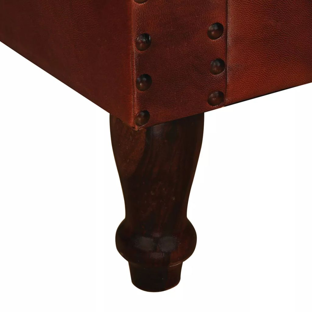 Armchair Brown Real Leather 5