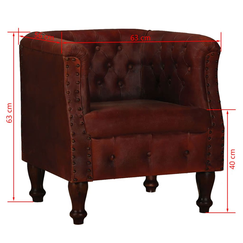 Armchair Brown Real Leather 6