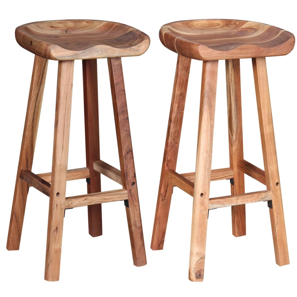 Bar Stools 2 pcs Solid Acacia Wood 1