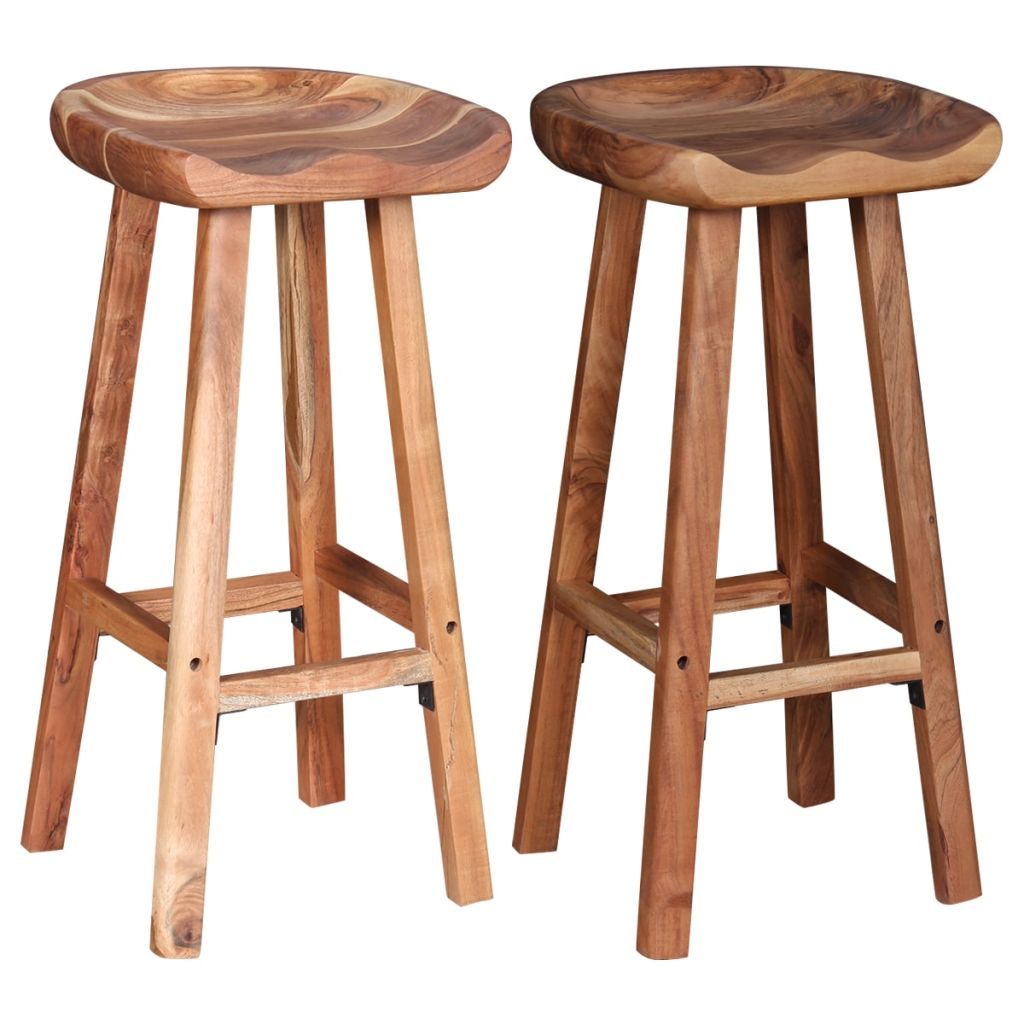 Bar Stools 2 pcs Solid Acacia Wood 2