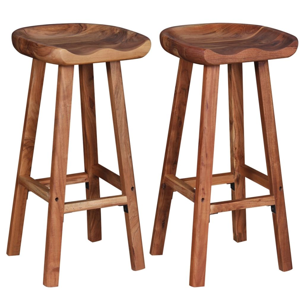 Bar Stools 2 pcs Solid Acacia Wood 3