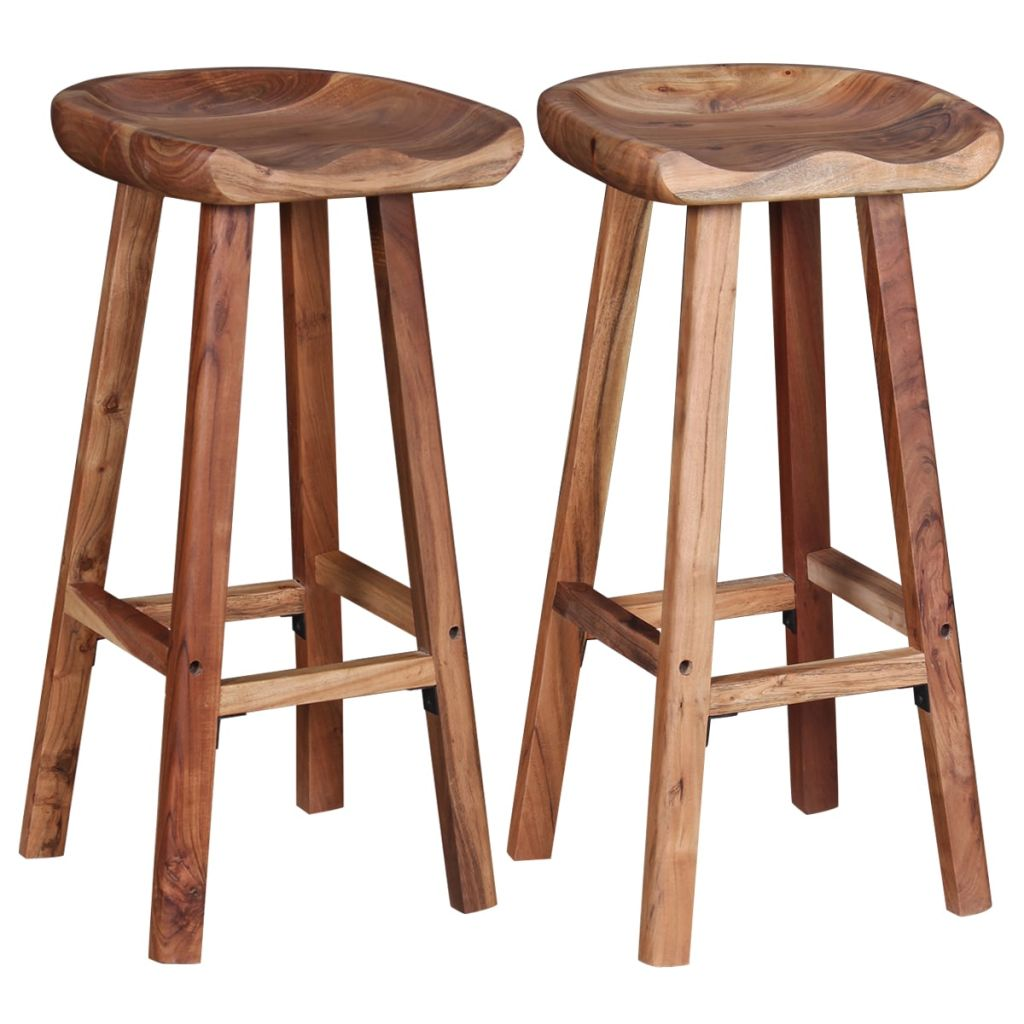 Bar Stools 2 pcs Solid Acacia Wood 5