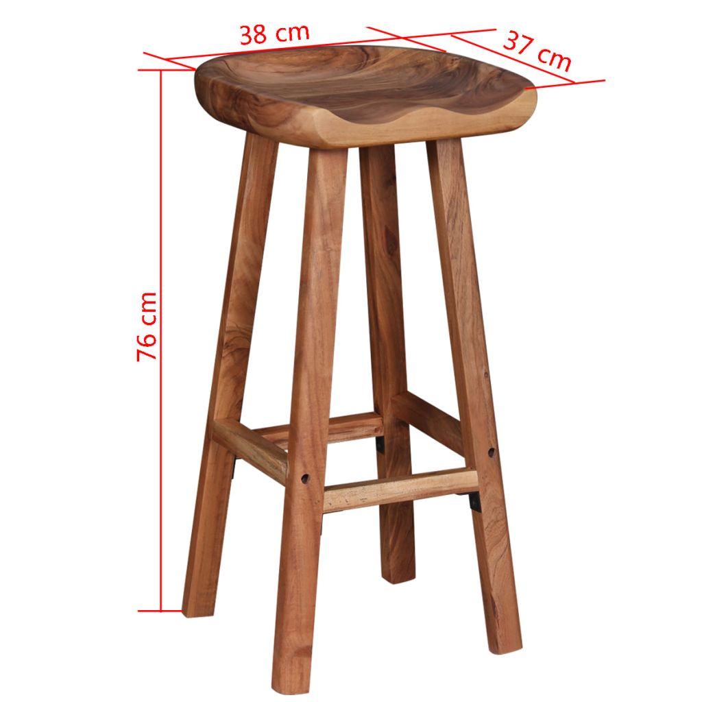 Bar Stools 2 pcs Solid Acacia Wood 9