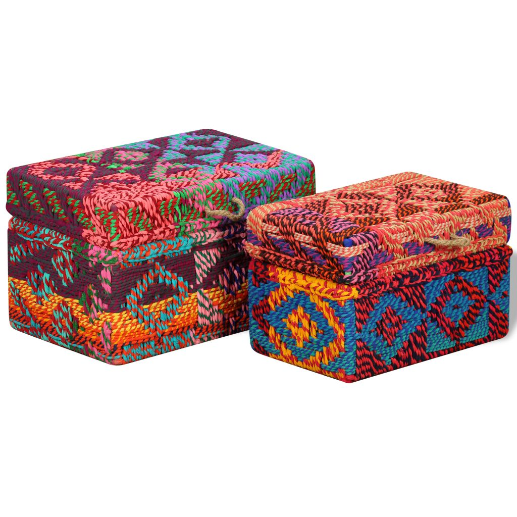 Storage Boxes Set of 2 Chindi Fabric Multicolour