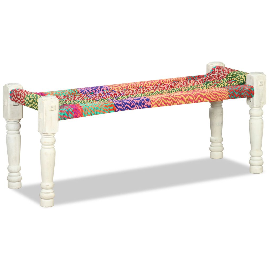 Bench Solid Acacia Wood with Chindi Fabric Multicolour