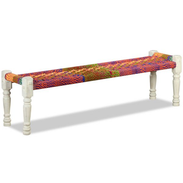 Bench Solid Acacia Wood with Chindi Fabric Multicolour 1
