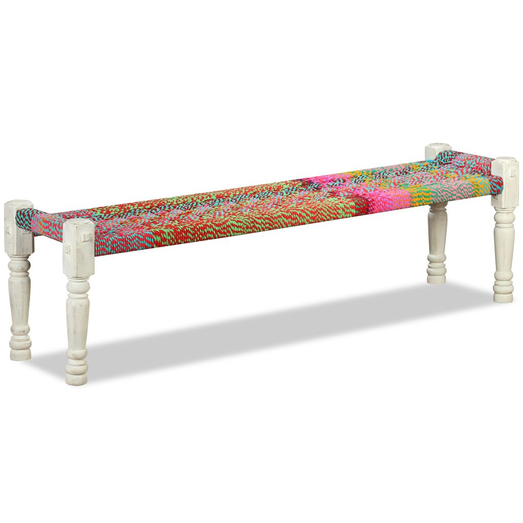 Bench Solid Acacia Wood with Chindi Fabric Multicolour 5