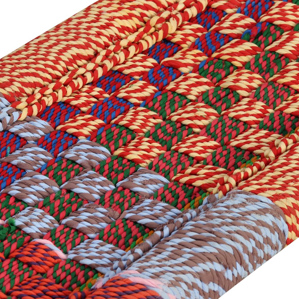 Bench Solid Acacia Wood with Chindi Fabric Multicolour 7