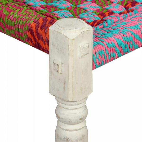 Bench Solid Acacia Wood with Chindi Fabric Multicolour 8