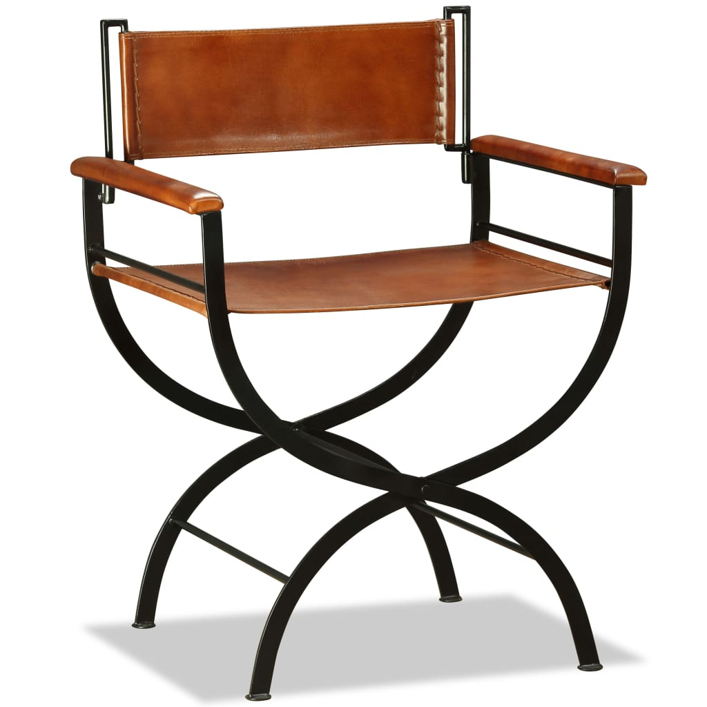 Folding Chair Black and Brown Real Leather 1