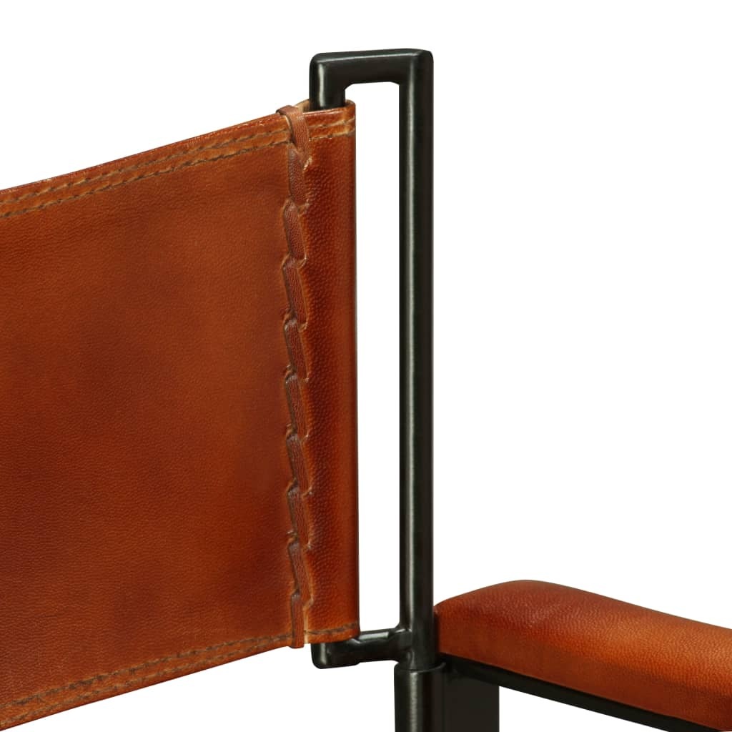 Folding Chair Black and Brown Real Leather 11
