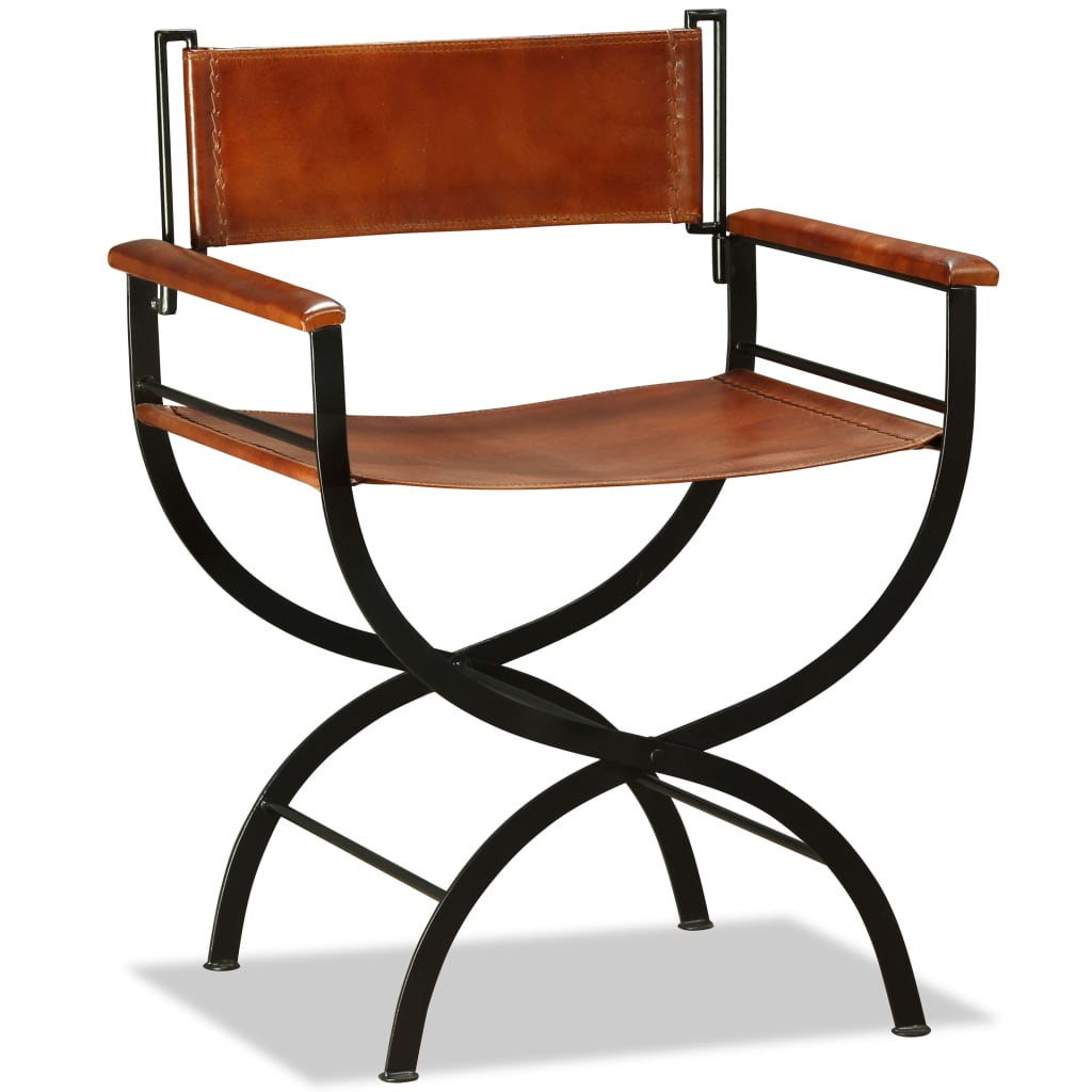 Folding Chair Black and Brown Real Leather 5