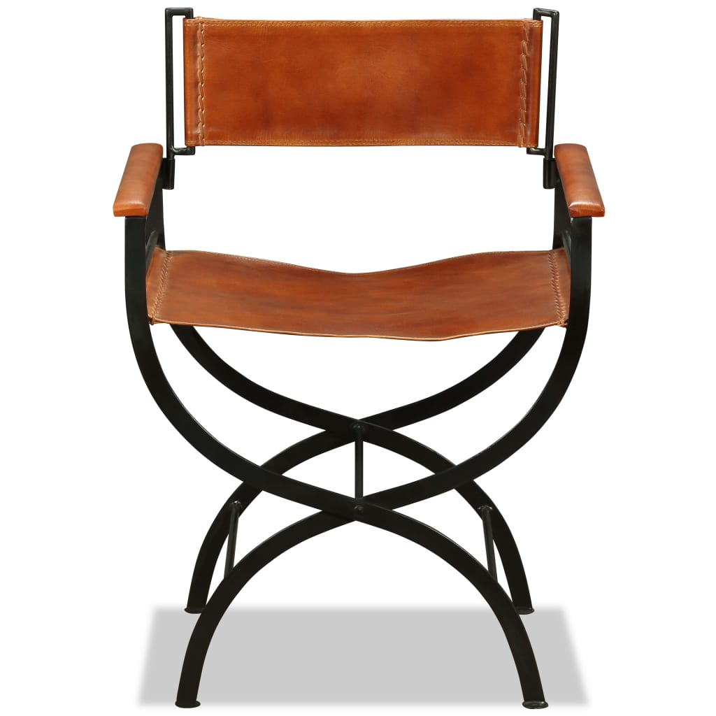 Folding Chair Black and Brown Real Leather 8
