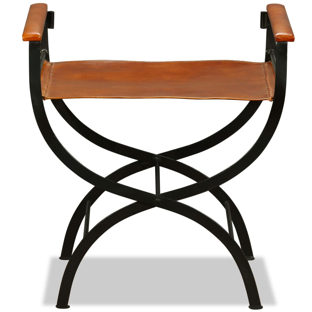 Folding Chair Black and Brown Real Leather 9