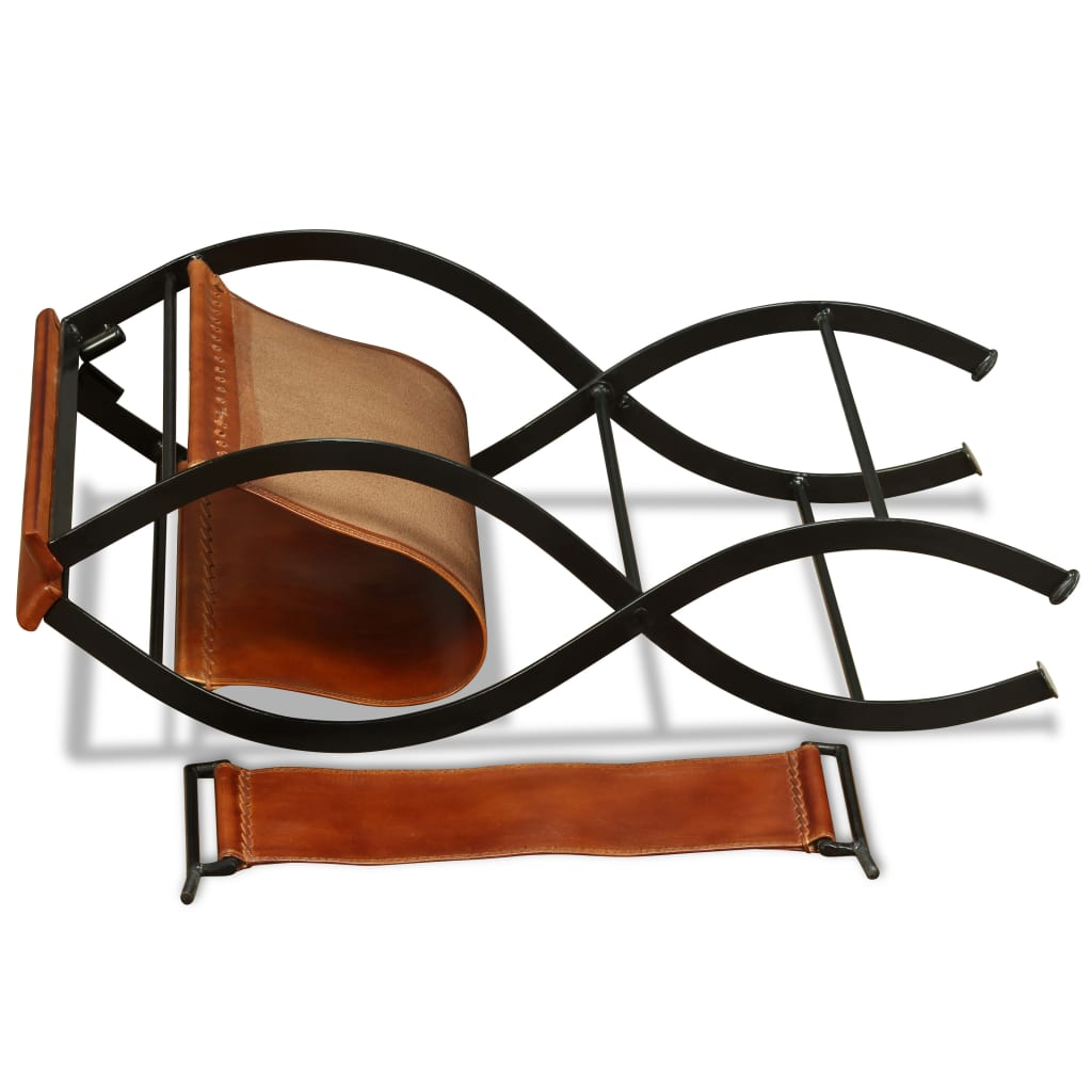 Folding Chair Black and Brown Real Leather 10