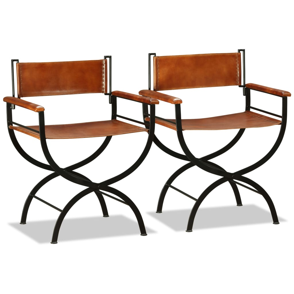 Folding Chairs 2 pcs Black and Brown Real Leather 1