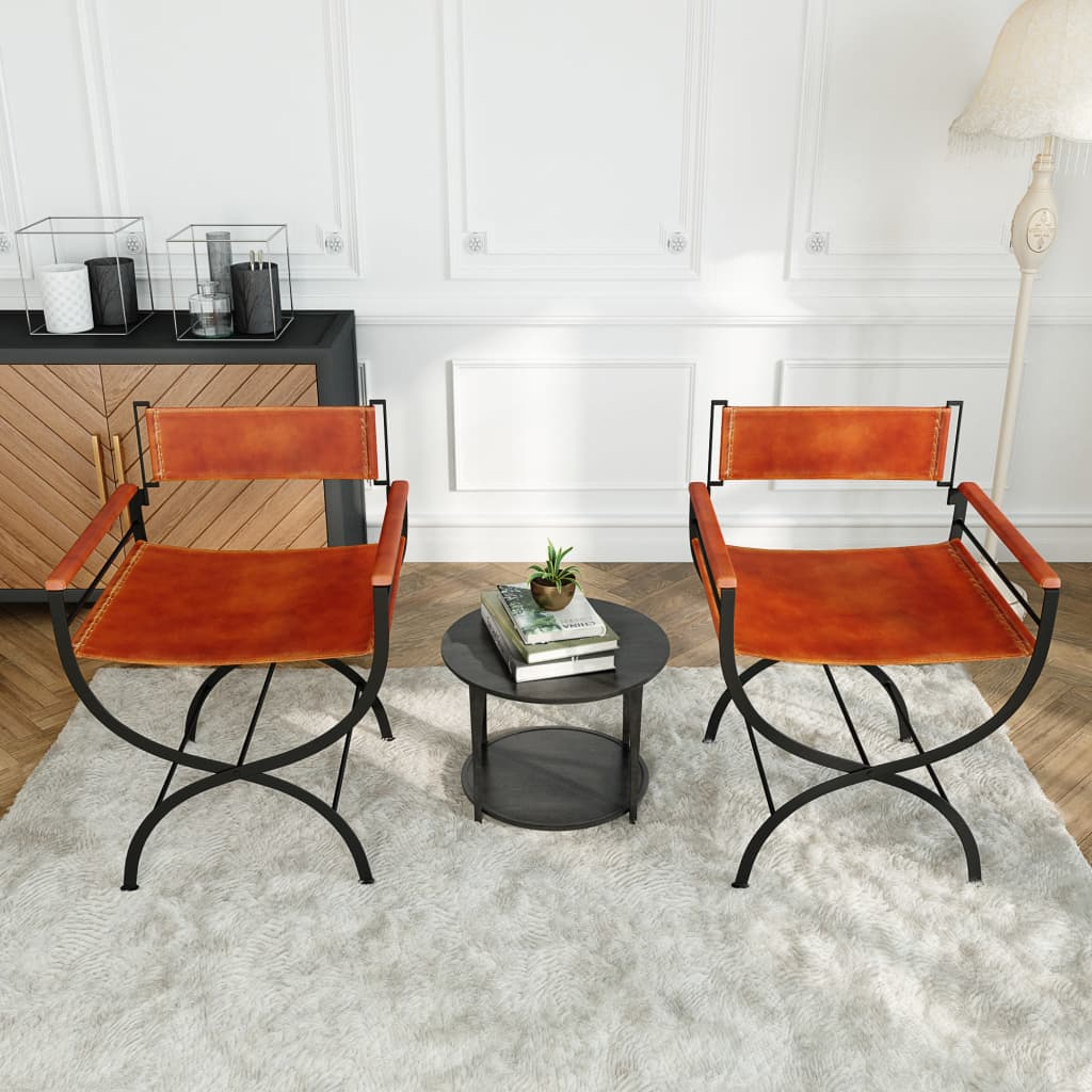 Folding Chairs 2 pcs Black and Brown Real Leather 2