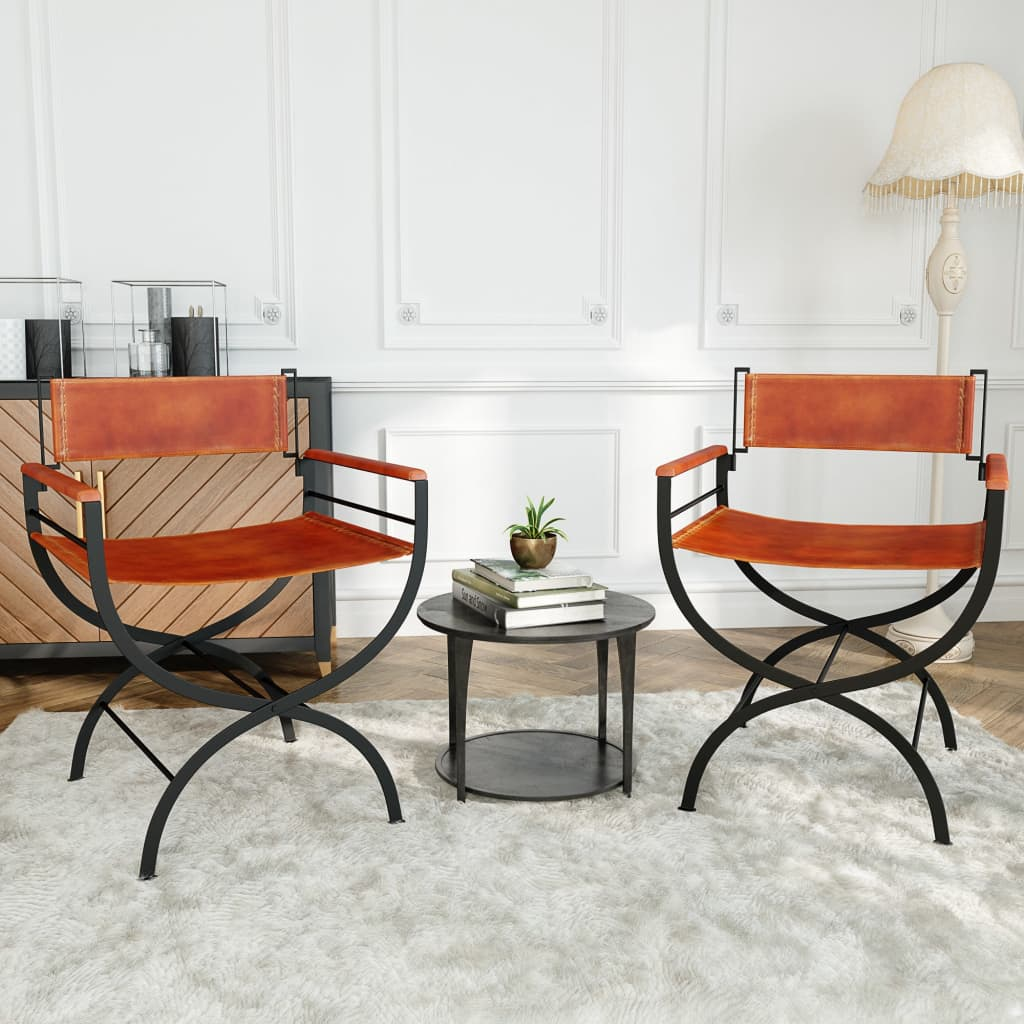 Folding Chairs 2 pcs Black and Brown Real Leather 3