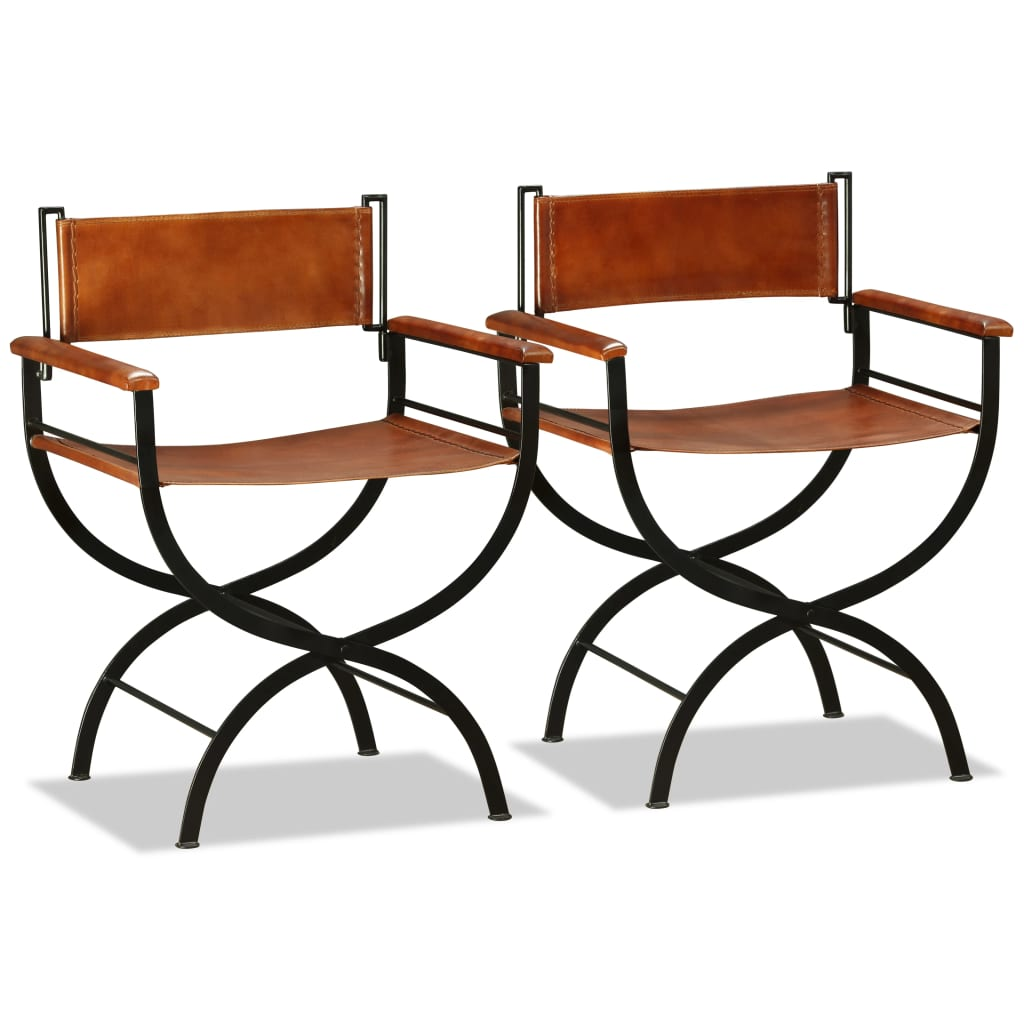 Folding Chairs 2 pcs Black and Brown Real Leather 4