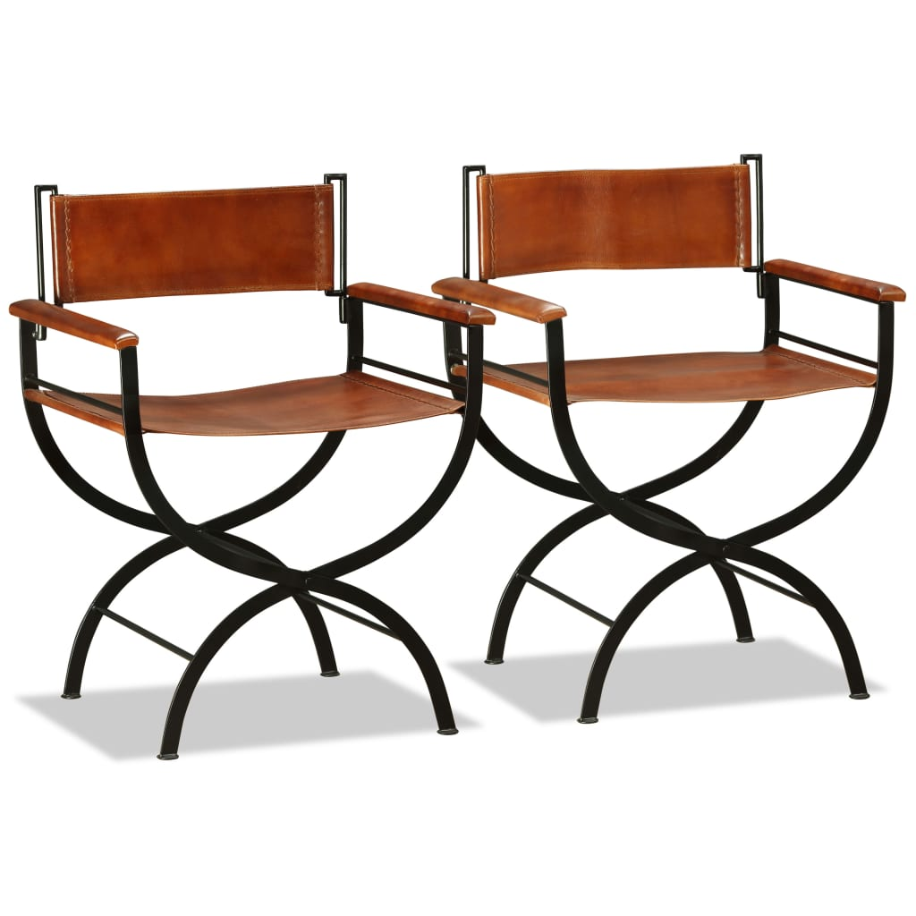Folding Chairs 2 pcs Black and Brown Real Leather 5