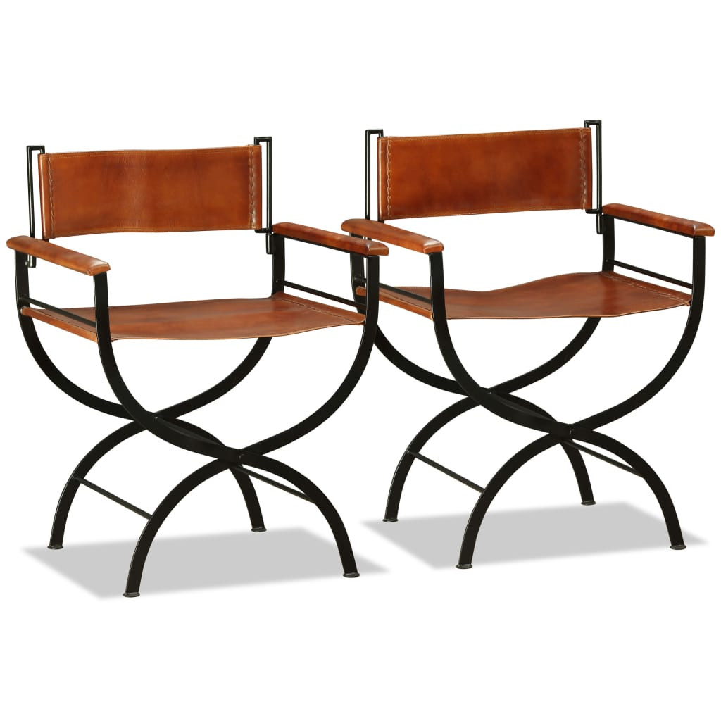 Folding Chairs 2 pcs Black and Brown Real Leather 6