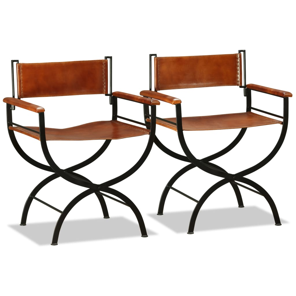 Folding Chairs 2 pcs Black and Brown Real Leather 7