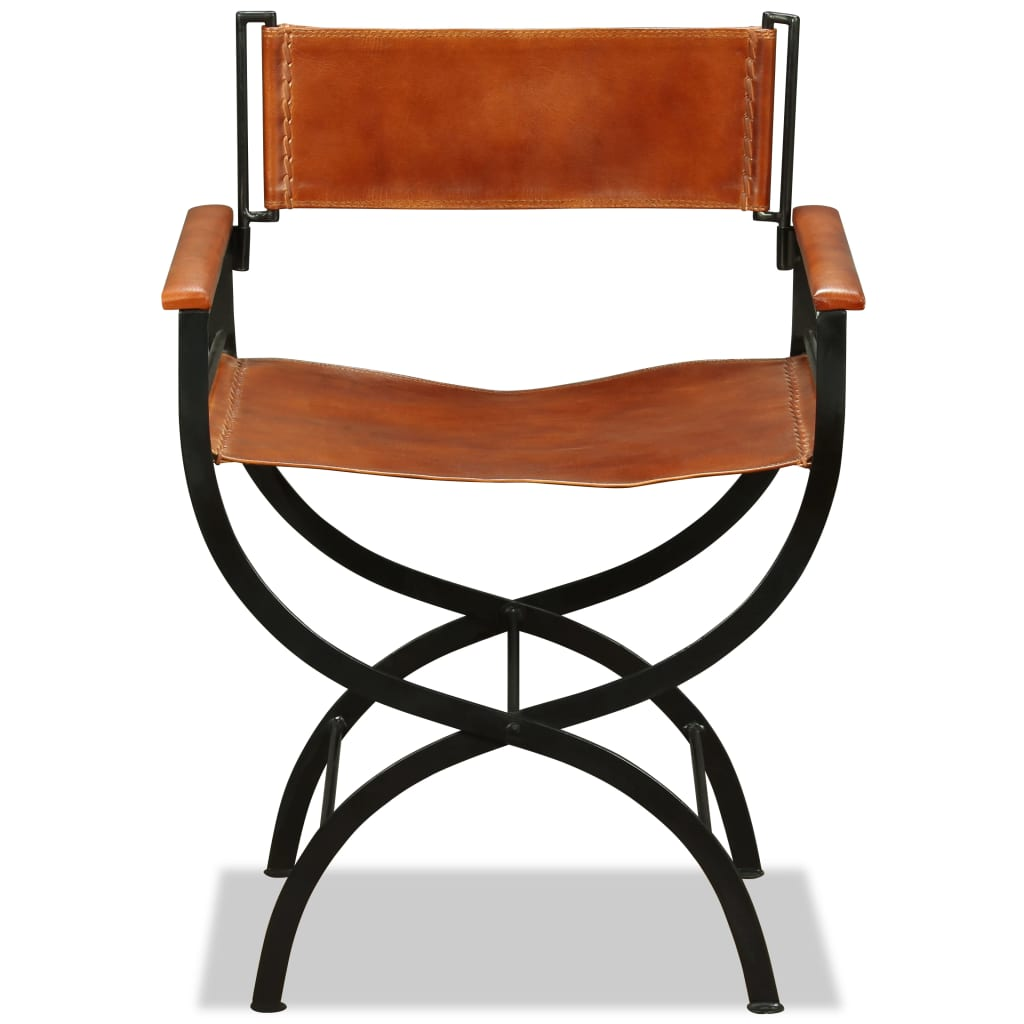 Folding Chairs 2 pcs Black and Brown Real Leather 8