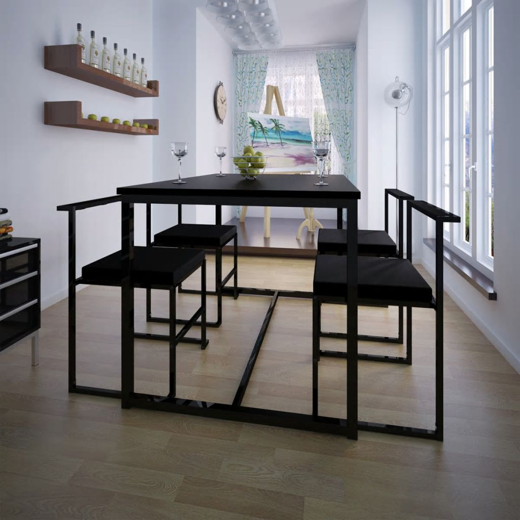 5 Piece Dining Table and Chair Set Black 1