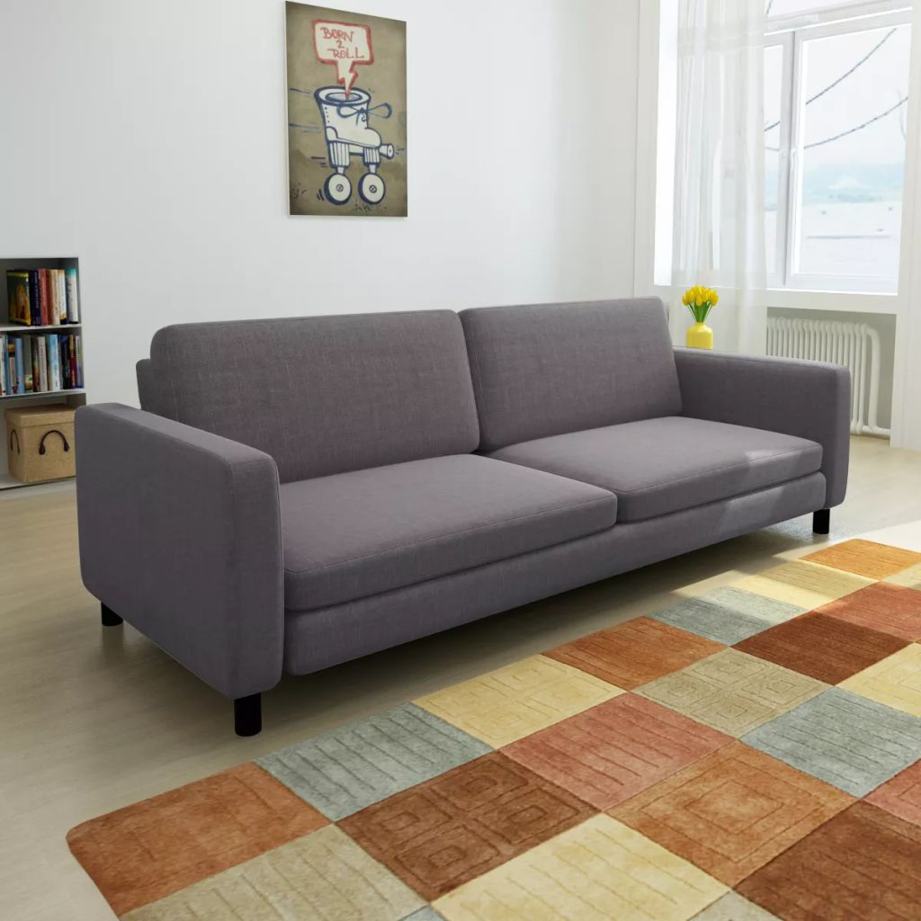 3-Seater Sofa Dark Grey Fabric